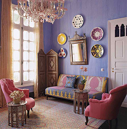 oriental ethnic purple living room design 3
