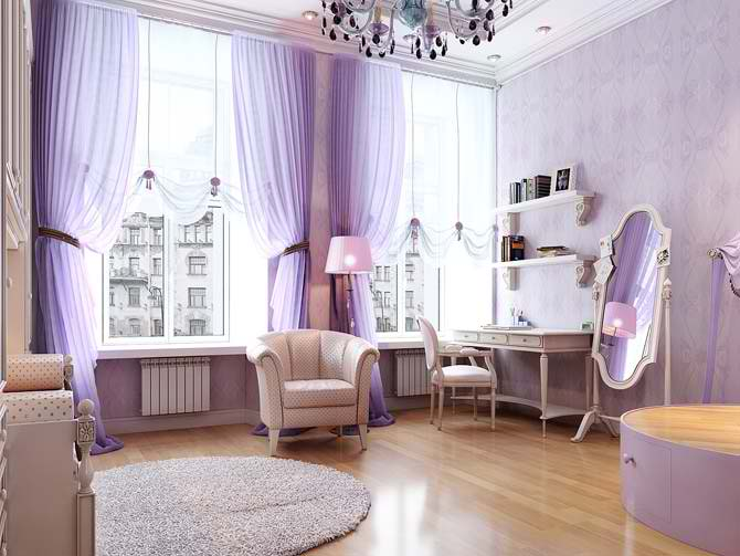 romantic light calm purple living room interior design idea