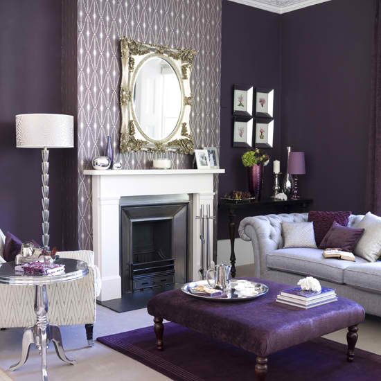 contemporary purple living room with fireplace interior design idea 5