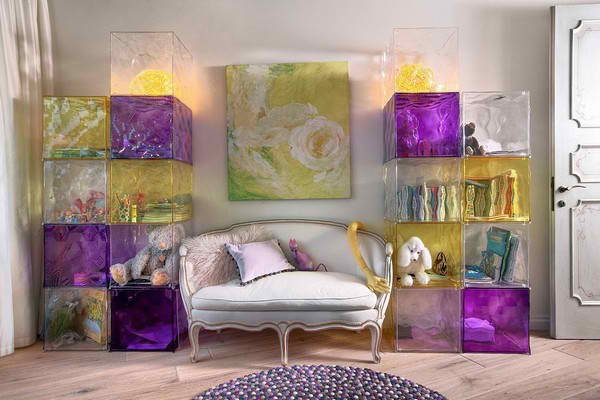 awesome yellow and purple living room interior design idea