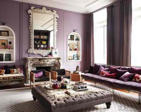 Mix Style Purple Living Room Interior Design Idea 1