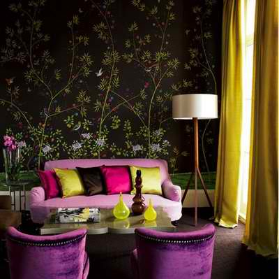 awesome purple and yellow lime living room interior design idea