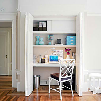 white closet home office