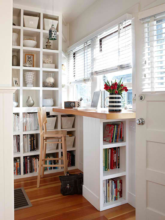 convert an awkward little nook into a home office