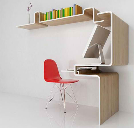office decorating idea with circular desk for laptop