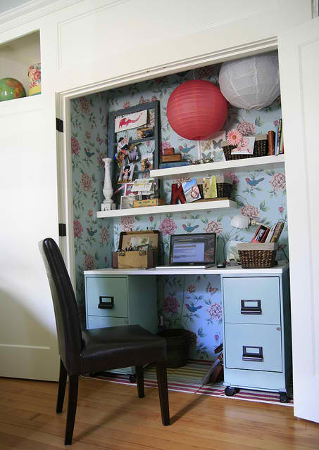 small home office in a closet