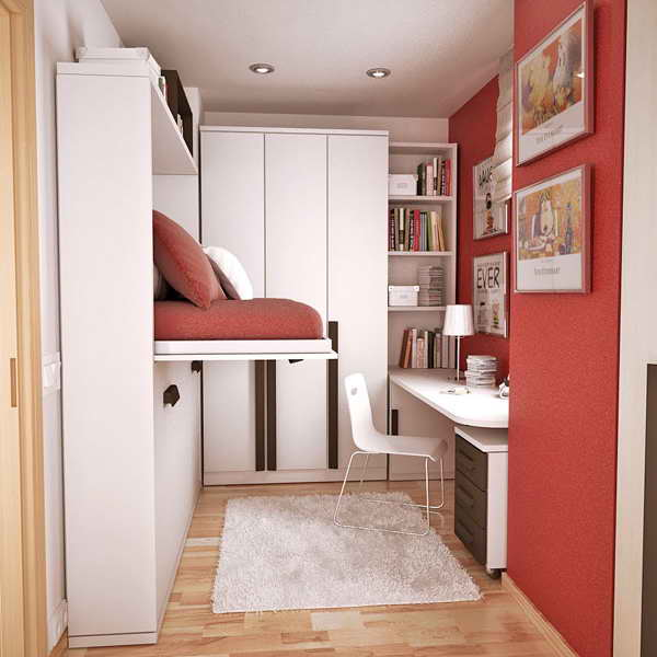 smart small teen room design with hidden bed