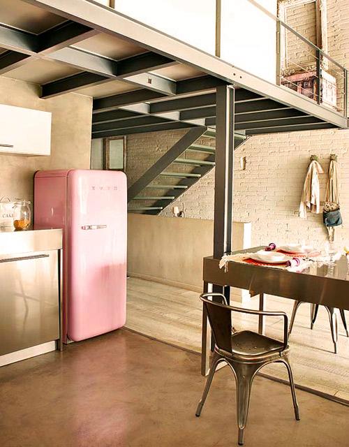 inox kitchen smeg pink loft
