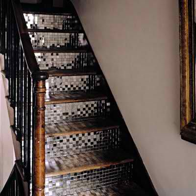 stairs with silver tiles