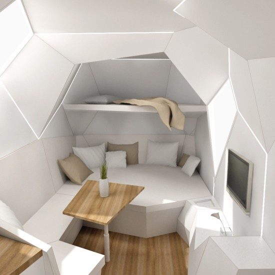 white modern futuristic trailer interior design