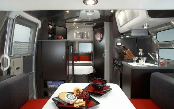 mobile home trailer black and red  modern interior design