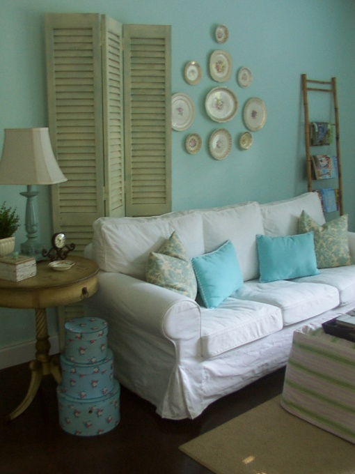 vintage green calm blue living room on a budget
