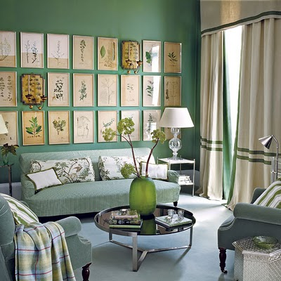 vintage green living room with framed botanicals