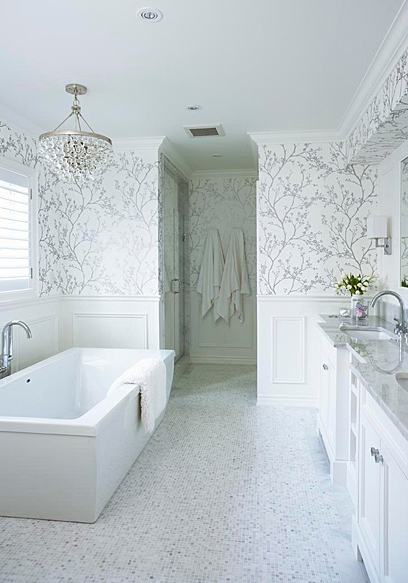 white and silver  Floral Bathrom Design Ideas