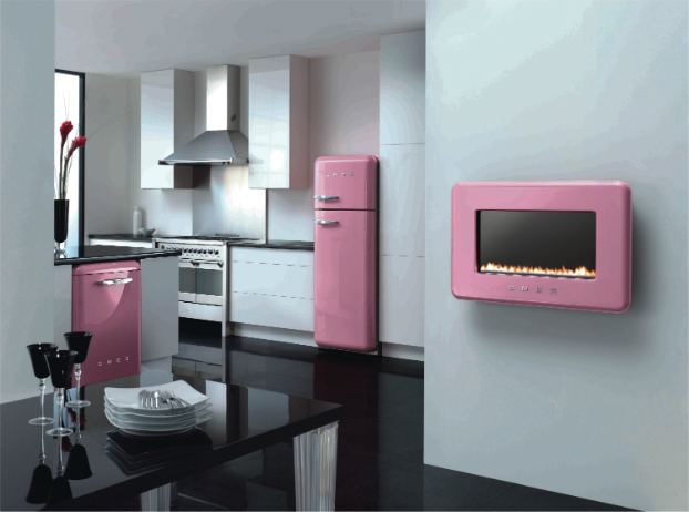 ideas white kitchens withpink smeg and pink fireplace