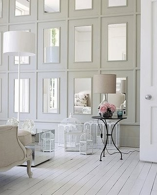 white romantic panel with mirrors