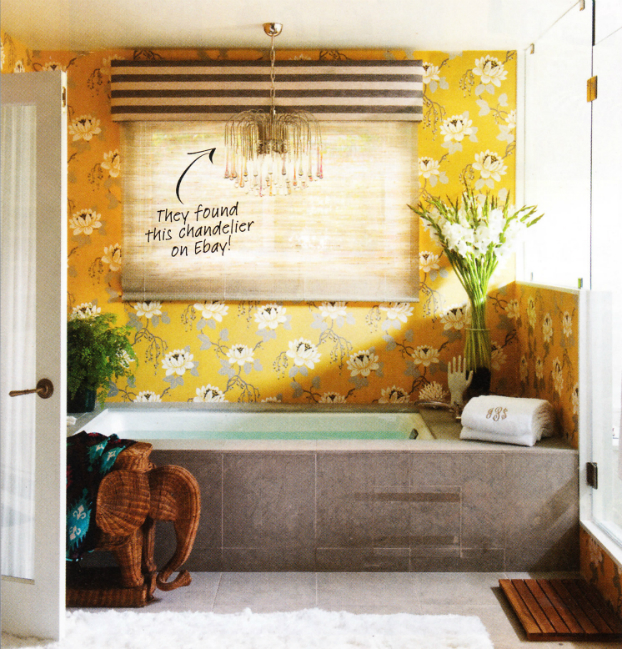 yellow and grey  Floral Bathrom Design Ideas