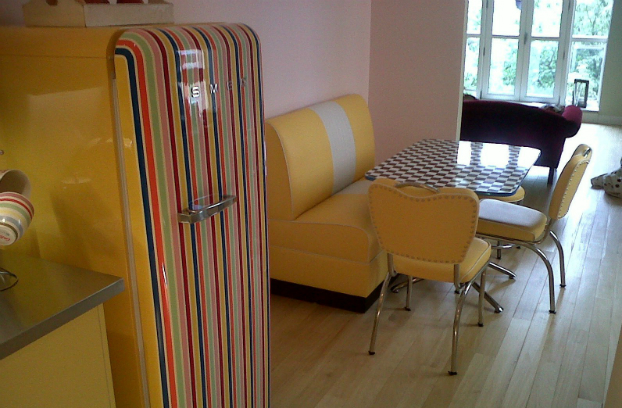 yellow kitchen with smeg coloures lines
