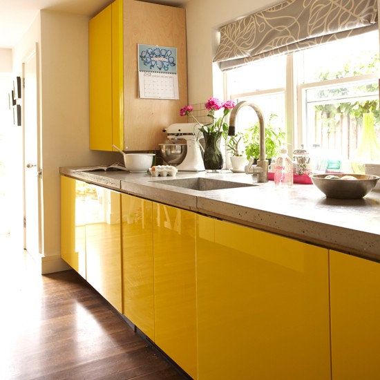 yellow contemporary kitchen in georgian house