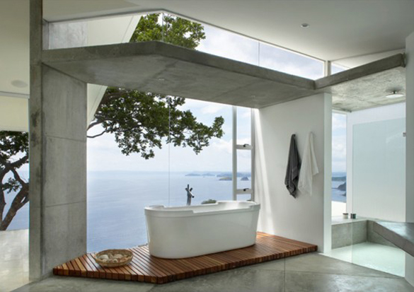 luxury bathroom design with a view
