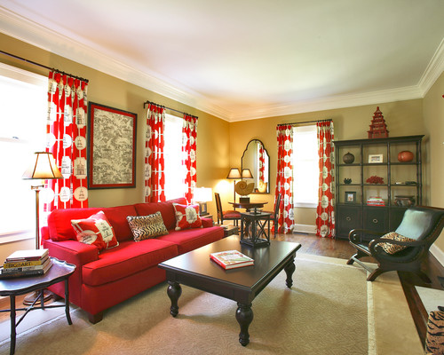 asian red living room design