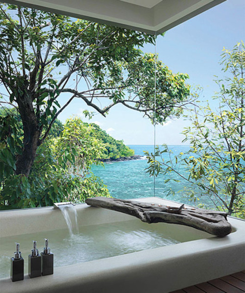 bathroom with a sea view