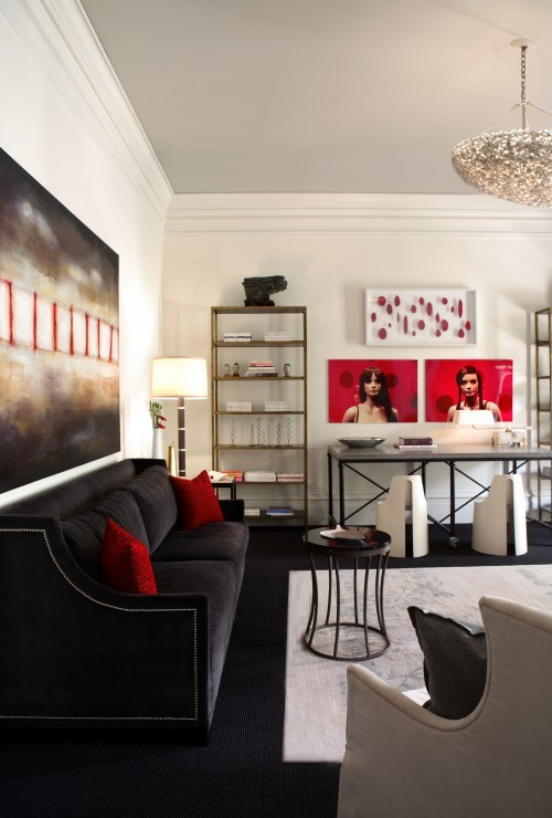 100 best red living rooms interior design ideas for Black red and grey living room