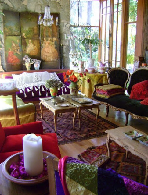 Bohemian Colorful Living Room Designs