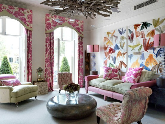 Colorful Floral Living Rooms Ideas