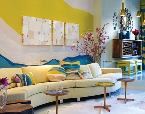 blue and yellow colorful living rooms