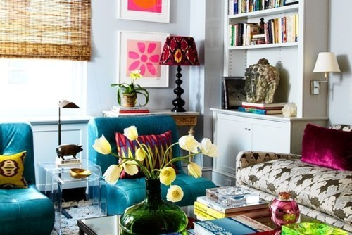 bold colors and patterns in living room