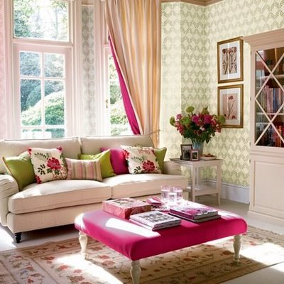 fuchsia and green colors in living room