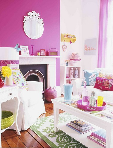 pink colorful living room