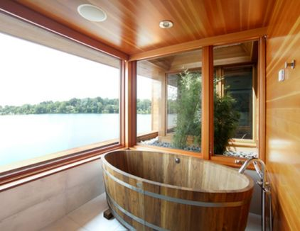 contemorary bathroom with wooden tum by James Cleary Architecture