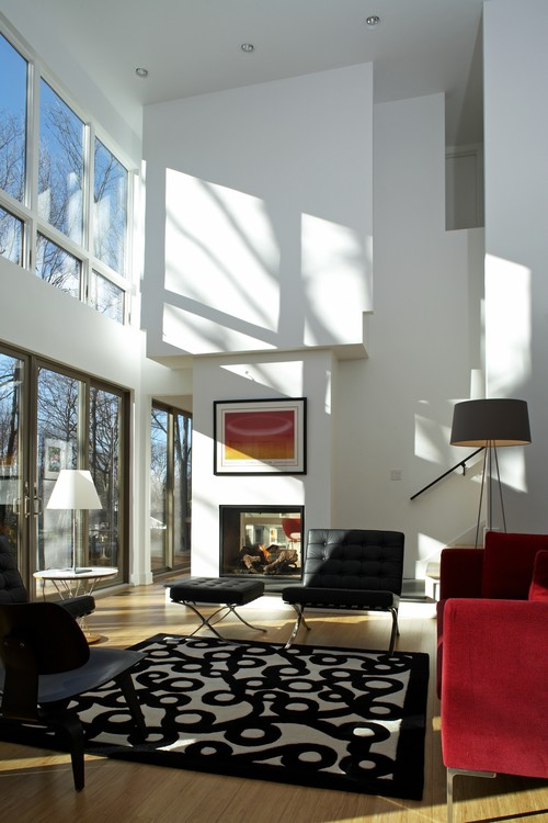 white and red living room