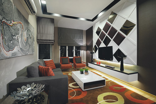 Red Living Room with black and white details