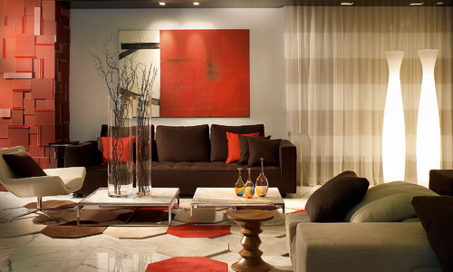 100 best red living rooms interior design ideas - Decoration salon cuir marron ...