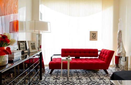 Black, White And Red All Over: Charles Pavarini III Design Associates, Inc. contemporary living room