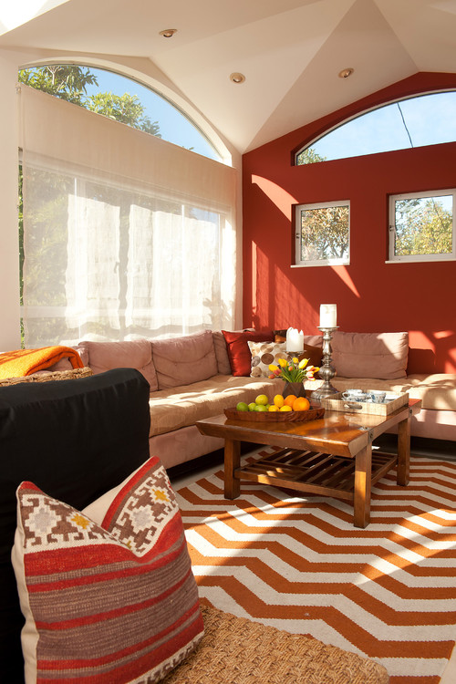 100 Best Red Living Rooms Interior Design Ideas: orange and red living room design