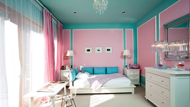 contemporary girls pink and tyrquoise room  by cantilever design