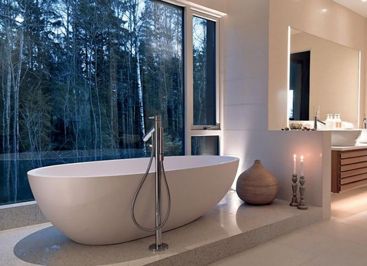 modern bathroom with forest view