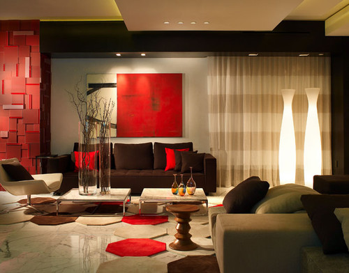 red colour living room designs