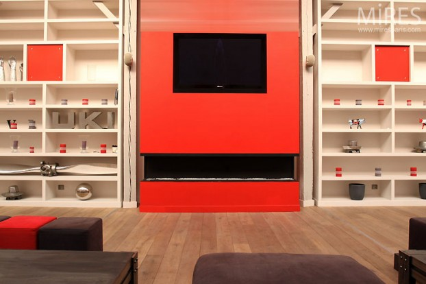 Red Living Room Interior Design Ideas 36