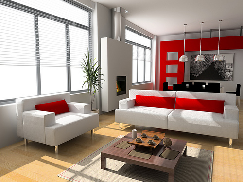 red and white room