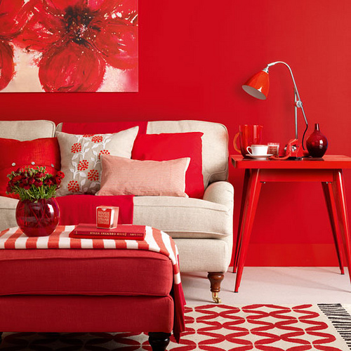 Red Living Room Interior Design Ideas 28