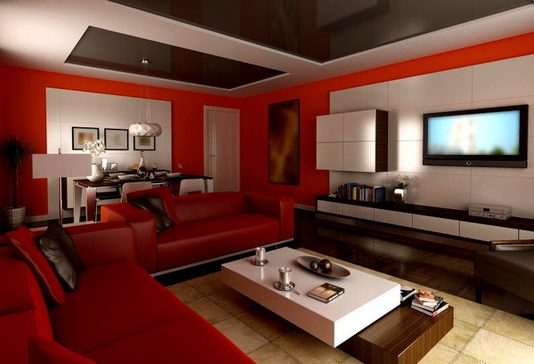 Red Living Room Interior Design Ideas 25