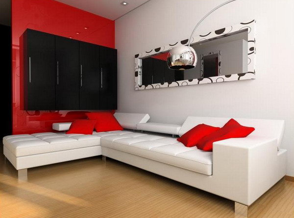 Red Living Room Interior Design Ideas 24