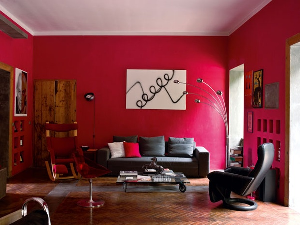 Red Living Room Interior Design Ideas 22