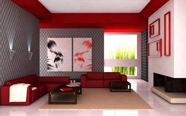 grey and red room
