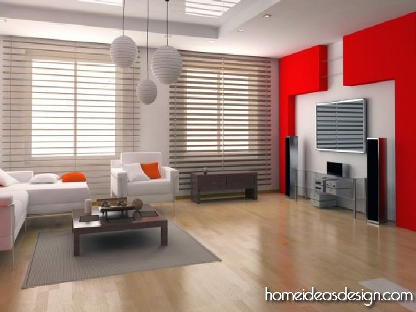 Red Living Room Interior Design Ideas 21